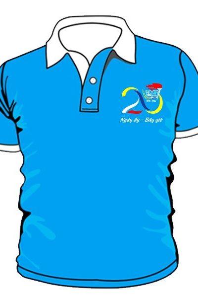 Đồng phục áo thun – Áo thun nhóm lớp cổ trụ màu xanh biển 13