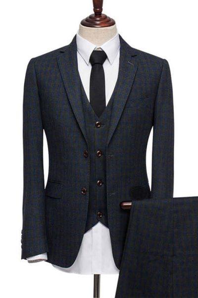 Đồng phục công sở – Áo vest nam màu đen sọc xanh 34