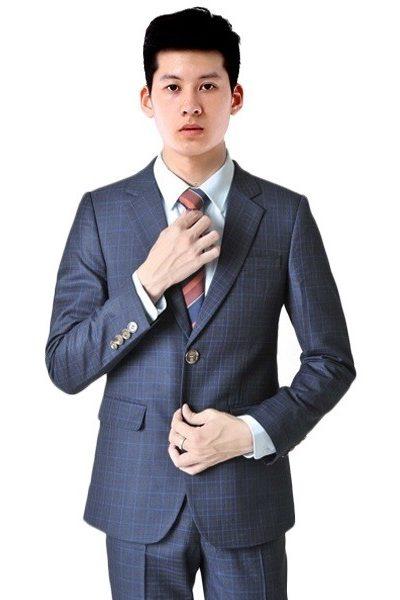 Đồng phục công sở – Áo vest màu xanh đen  phối sọc caro xanh 50