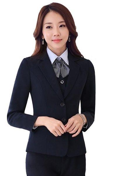 Đồng phục công sở – Áo vest nữ màu đen 31