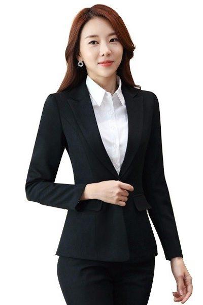 Đồng phục công sở – Áo vest nữ màu đen 37