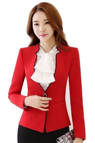 Đồng phục công sở – Áo vest nữ màu đỏ viền đen 38