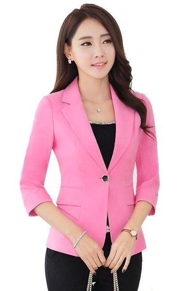 Đồn phục công sở – Áo vest nữ màu hồng 40