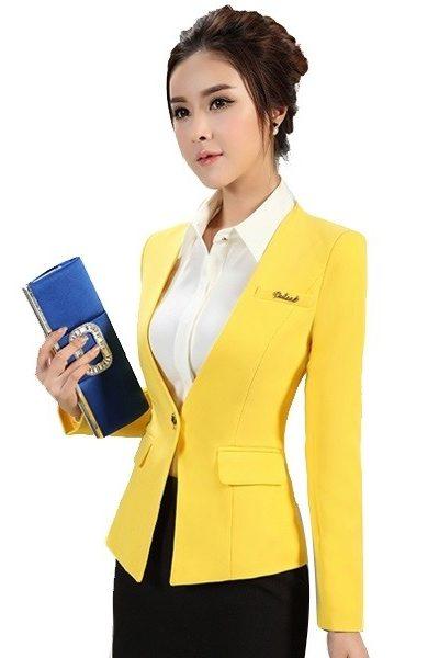 Đồng phục công sở – Áo vest nữ màu vàng 42