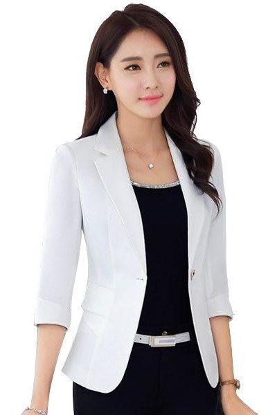 Đồng phục công sở – Áo vest nữ màu trắng 43
