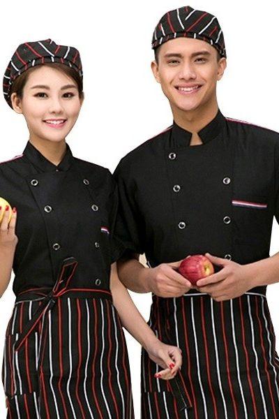 Đồng phục nhà hàng khách sạn – Đồng phục bếp áo đen, tạp dề đen sọc đỏ trắng 21