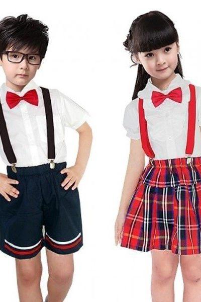 Đồng phục học sinh sinh viên – Đồng phục học sinh cấp I áo trắng nơ đỏ, quần xanh đen phối viền đỏ trắng, váy caro  23