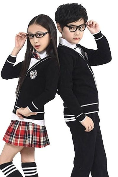 Đồng phục học sinh sinh viên – Đồng phục học sinh cấp I áo đen viền trắng, quần đen, chân váy caro 24