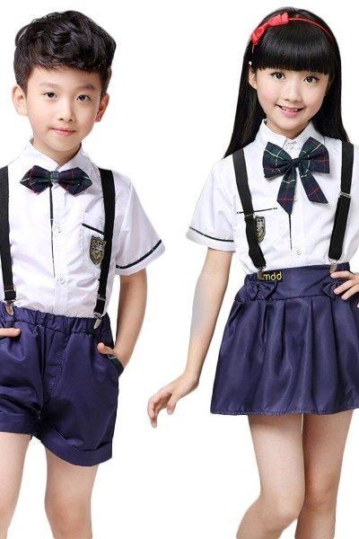 Đồng phục học sinh sinh viên – Đồng phục học sinh cấp I áo trắng, nơ caro, quần, chân váy xanh đen 25