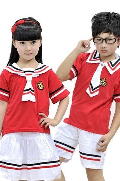 Đồng phục học sinh sinh viên – Đồng phục học sinh cấp I áo đỏ phối viền đen đỏ, quần, váy trắng phối viền đen đỏ 26