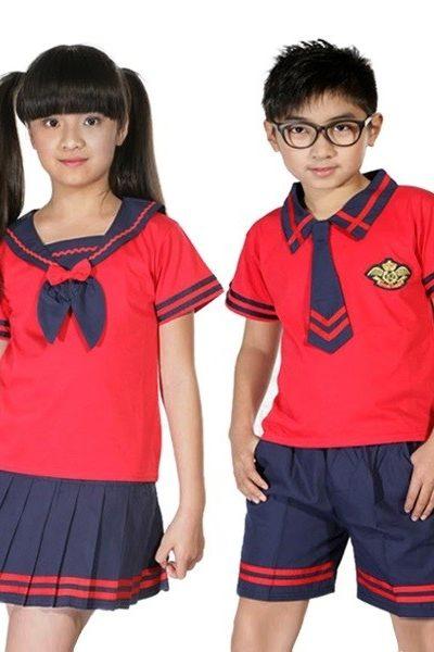 Đồng phục học sinh sinh viên – Đồng phục học sinh cấp I áo đỏ phối viền xanh đen, váy, quần xanh đen phối viền đỏ 27