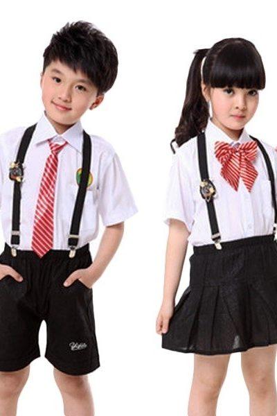 Đồng phục học sinh sinh viên – Đồng phục học sinh cấp I áo trắng, nơ sọc đỏ trắng, quần, váy màu đen 30