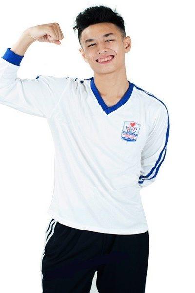 Đồng phục học sinh sinh viên – Đồng phục thể dục áo thun tay dài màu trắng viền xanh, quần xanh25