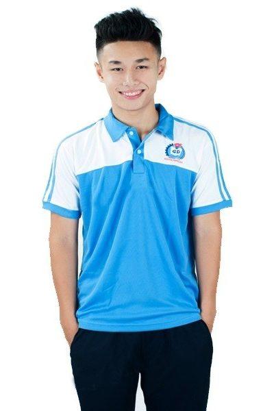 Đồng phục học sinh sinh viên – Đồng phục thể dục áo thun cổ trụ màu xanh phối trắng , quần xanh đen 3 sọc trắng 27