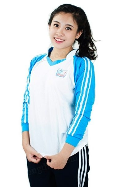 Đồng phục học sinh sinh viên – Đồng phục thể dục áo thun màu trắng tay dài màu xanh phối sọc trắng, quần đen 3 sọc trắng 23