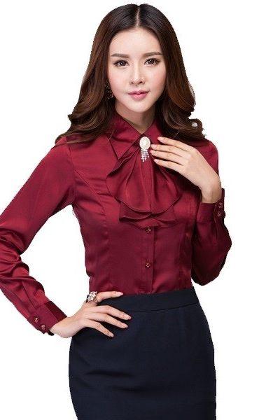 Đồng phục nhà hàng khách sạn – Đồng phục lễ tân áo sơ mi đỏ đô chân váy body đen 38