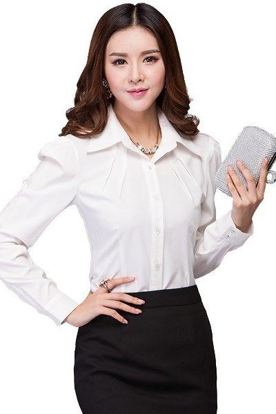Đồng phục nhà hàng khách sạn – Đồng phục lễ tân áo sơ mi trắng chân váy màu đen 39