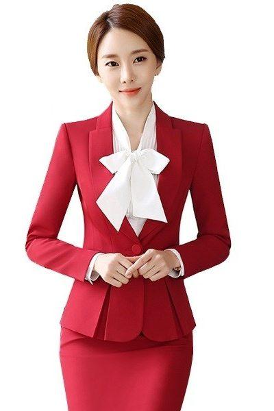 Đồng phục nhà hàng khách sạn – Đồng phục lễ tân áo vest đỏ chân váy body đỏ 32
