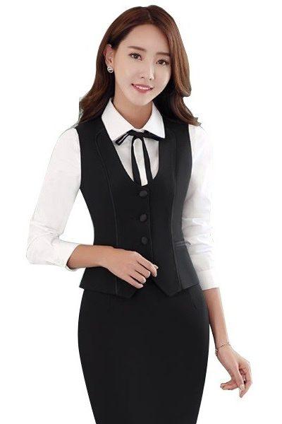 Đồng phục nhà hàng khách sạn – Đồng phục lễ tân ghi lê đen chân váy body đen 34