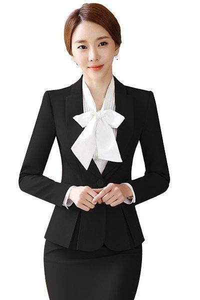 Đồng phục nhà hàng khách sạn – Đồng phục lễ tân áo vest đen chân váy body đen 33