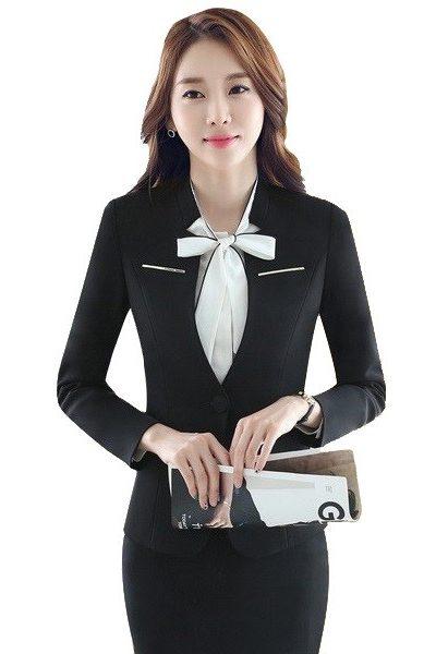 Đồng phục nhà hàng khách sạn – Đồng phục lễ tân áo vest đen chân váy body đen 35
