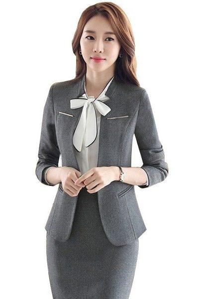 Đồng phục nhà hàng khách sạn – Đồng phục lễ tân áo vest xám chân váy xám 36
