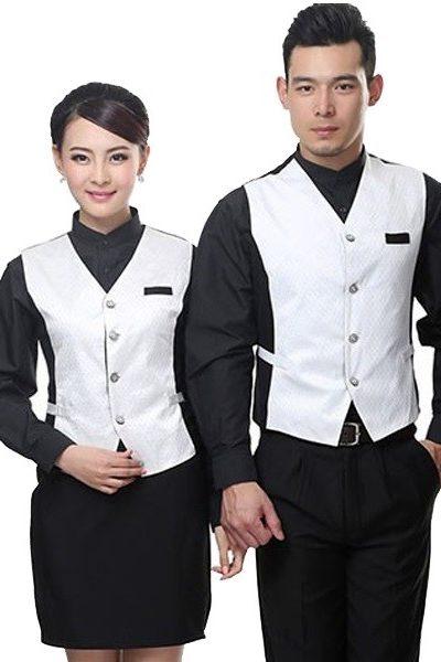 Đồng phục nhà hàng khách sạn – Đồng phục phục vụ áo sơ mi, quần tây nam , chân váy đen, áo ghi lê màu trắng 40