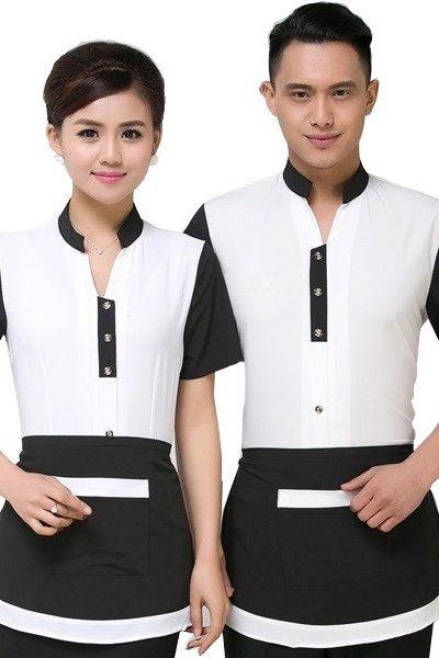 Đồng phục nhà hàng khách sạn – Đồng phục phục vụ áo trắng tay đen, tạp dề đen viền trắng 42