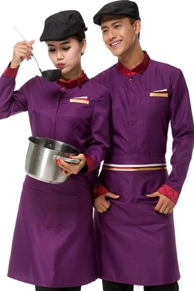 Đồng phục nhà hàng khách sạn – Đồng phục phục vụ áo tím tạp dề tím quần tây đen 46