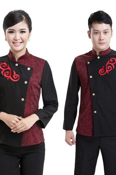 Đồng phục nhà hàng khách sạn – Đồng phục phục vụ áo đen phối đỏ quần tây đen 32