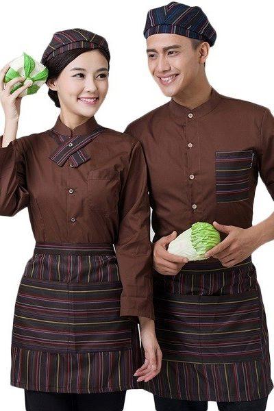 Đồng phục nhà hàng khách sạn – Đồng phục phục vụ áo nâu, tạp dề sọc 54