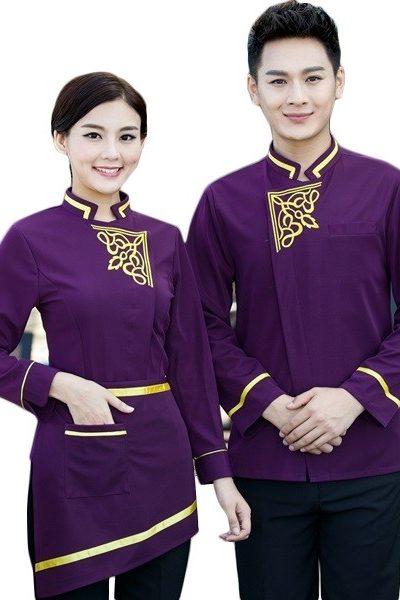 Đồng phục nhà hàng khách sạn – Đồng phục phục vụ áo tím viền vàng quần tây đen 58