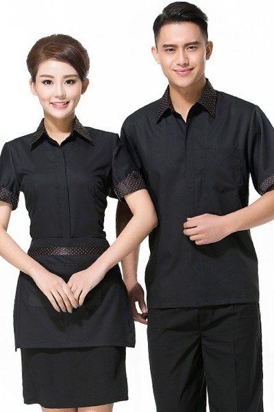 Đồng phục nhà hàng khách sạn – Đồng phục phục vụ áo, quần, chân váy, tạp dề đen 60