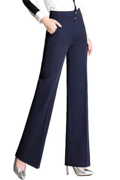Đồng phục công sở – Quần âu nữ ống loe màu xanh đen 45