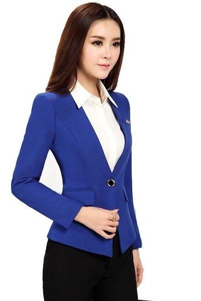 Đồng phục nhà hàng khách sạn – Đồng phục quản lý áo vest xanh chân váy đen 18