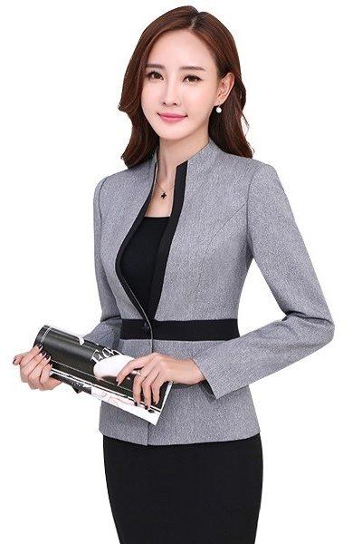 Đồng phục nhà hàng khách sạn – Đồng phục quản lý áo vest xám viền đen chân váy đen 20