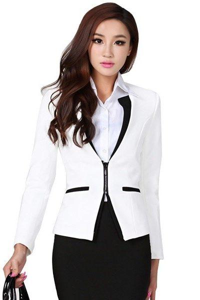 Đồng phục nhà hàng khách sạn – Đồng phục quản lý áo vest trắng viền đen có dây kéo chân váy đen 21
