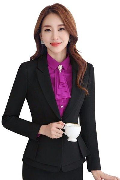 Đồng phục nhà hàng khách sạn – Đồng phục quản lý áo vest, chân váy đen 22