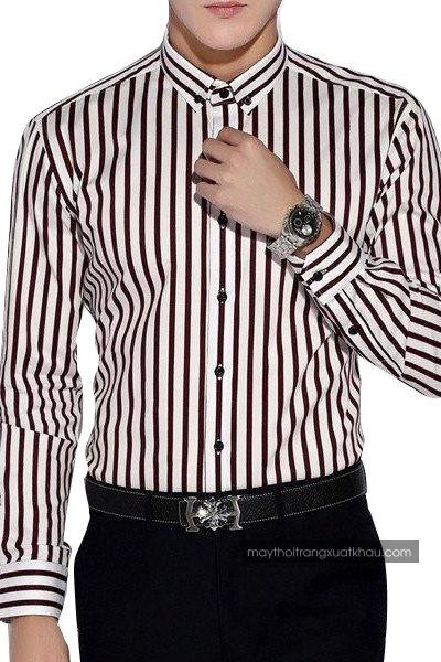 Đồng phục công sở – Áo sơ mi nam màu trắng sọc đen nhỏ tay dài 25