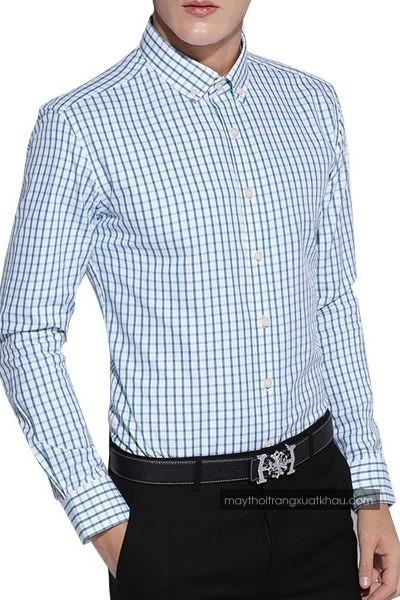 Đồng phục công sở – Áo sơ mi nam màu trắng họa tiết caro xanh tay dài 27