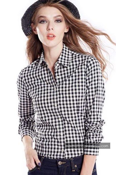 Đồng phục công sở – Áo sơ mi nữ màu trắng họa tiết caro đen tay dài 30