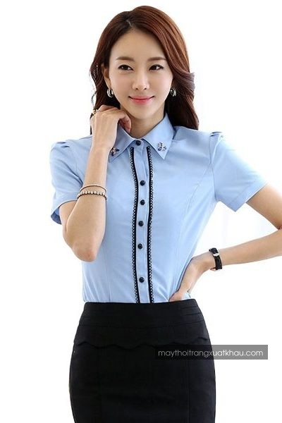 Đồng phục công sở – Áo sơ mi nữ màu xanh nhạt viền đen tay ngắn 32