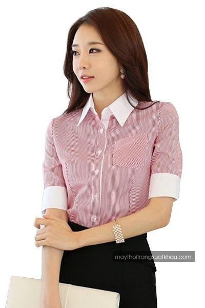 Đồng phục công sở – Áo sơ mi nữ sọc nhỏ trắng hồng tay ngắn 33