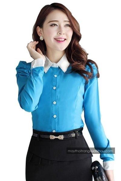 Đồng phục công sở – Áo sơ mi nữ màu xanh cổ trắng tay dài 34