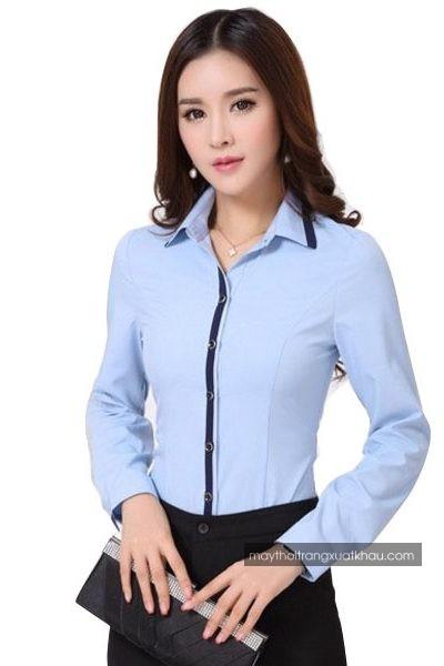 Đồng phục công sở – Áo sơ mi nữ màu xanh viền xanh đen tay dài 35