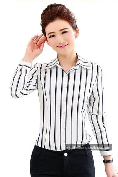 Đồng phục công sở – Áo sơ mi nữ màu trắng sọc đen tay dài 36