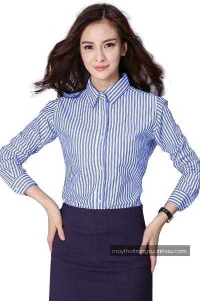Đồng phục công sở – Áo sơ mi nữ sọc trắng xanh tay dài 37