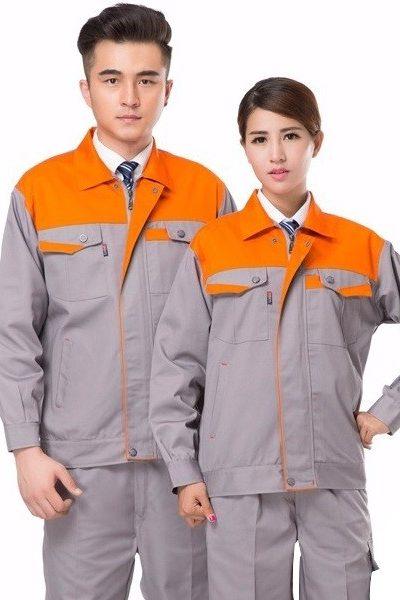 Đồng phục bảo hộ lao động –  Quần áo bảo hộ lao động tay dài màu xám phối cam 37