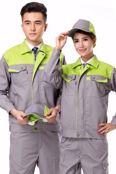 Đồng phục bảo hộ lao động – Quần áo bảo hộ lao động màu xám phối xanh 39