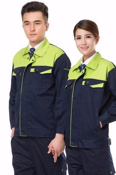 Đồng phục bảo hộ lao động – Quần áo bảo hộ lao động màu đen phối xanh 41
